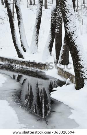 Creek in a snowy forest. Manor Karabiha. Yaroslavl - stock photo