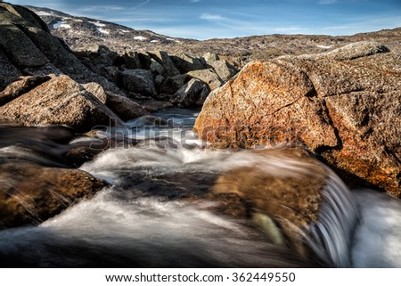 Creek in Swedisch Mountains - stock photo