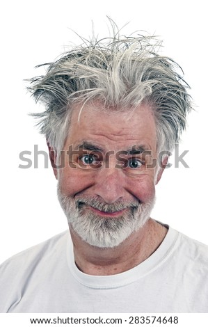 Creeping Looking Guy/ Creepy Old Man Isolated On White