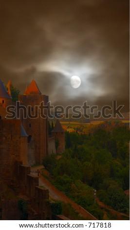Creepy castle - stock photo