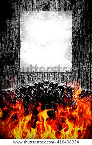 Creepy dark background and fire with poster ready for your text - stock photo