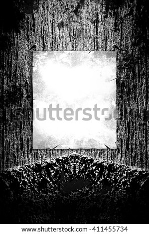 Creepy dark background - grunge illustration with poster ready for your text - stock photo