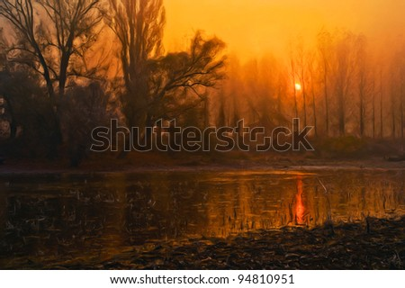Creepy landscape painting showing forest trees and the river on dark autumn morning. - stock photo