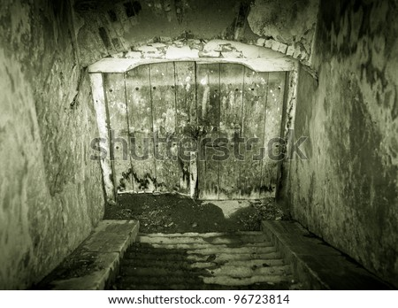 Creepy looking grunge basement door with stairs - stock photo