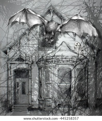 Creepy Old Haunted House with Bat Illustration Pencil Sketch Drawing