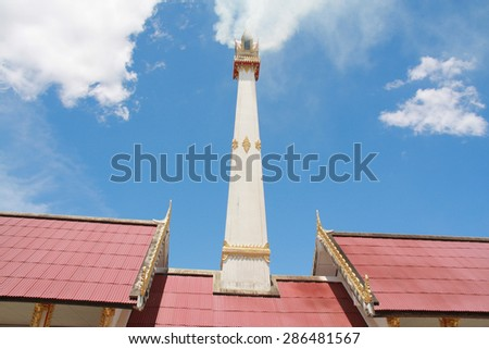 Crematory with cloud and blue sky background in Thailand.