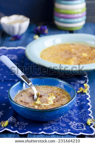 Creme brulee. Traditional French vanilla cream dessert with caramelised sugar - stock photo