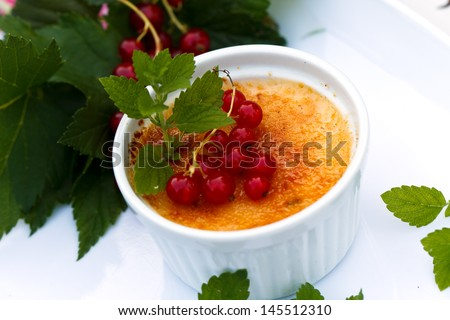 Creme Brulee with red Currants, isolated on White  - stock photo