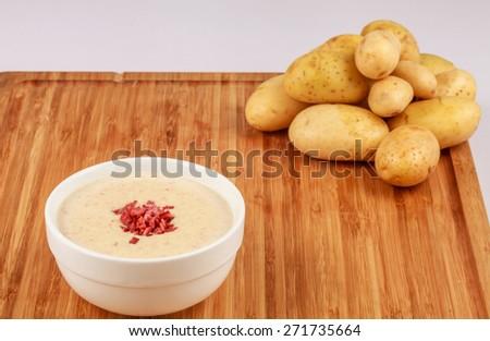 Creme soup: An delicious potatoes creme soup  Location : At Rawan Cake in Amman ,Jordan - stock photo