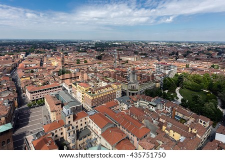 CREMONA, ITALY - APRIL 26 2016: Aerial view of the city of Cremona from the top of Torrazzo, the 14th century bell tower of the Cremona Cathedral
