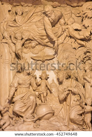 CREMONA, ITALY - MAY 25, 2016: The marlble relief of Holy Family in Cathedral by Giacomo Bartesi (16. - 17. cent.)
