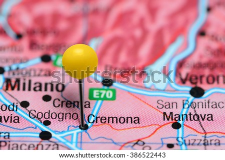 Cremona Pinned On Map Italy Stock Photo 386522443 Shutterstock