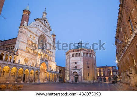 Cremona - The cathedral Assumption of the Blessed Virgin Mary dusk.