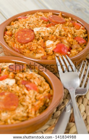Creole Jambalaya - Rice cooked with chicken, smoked sausage and tomatoes.