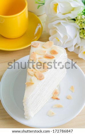 Crepe cake on white dish