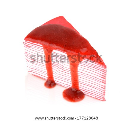 Crepe cake with strawberry sauce - stock photo