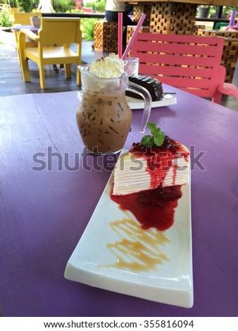 Crepe Cake with Strawberry Sauce  - stock photo