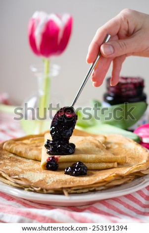 Crepes on a table - stock photo
