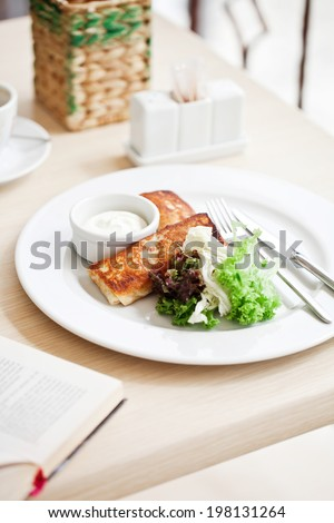 Crepes stuffed with cream and vegetables