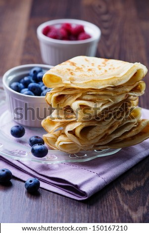 Crepes with Berries.  Pancake - stock photo