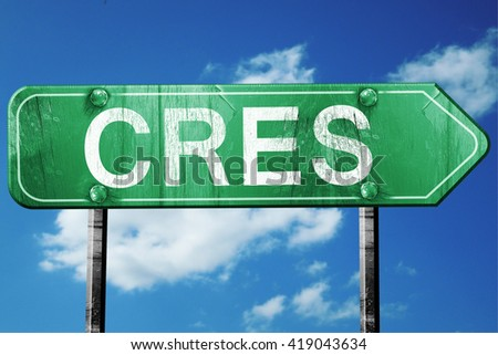 Cres, 3D rendering, a vintage green direction sign