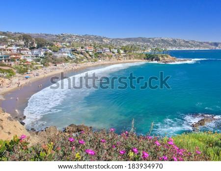 Crescent Bay of Laguna Beach, Orange County, California USA  - stock photo