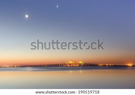 Crescent Dawn at Ft Desoto Park Fl - stock photo