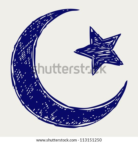 Crescent Islamic symbol. Raster version