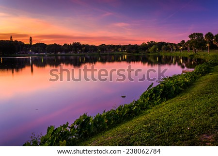 Crescent Lake at sunset, in Saint Petersburg, Florida.