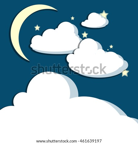 Crescent moon above stars and billowing clouds