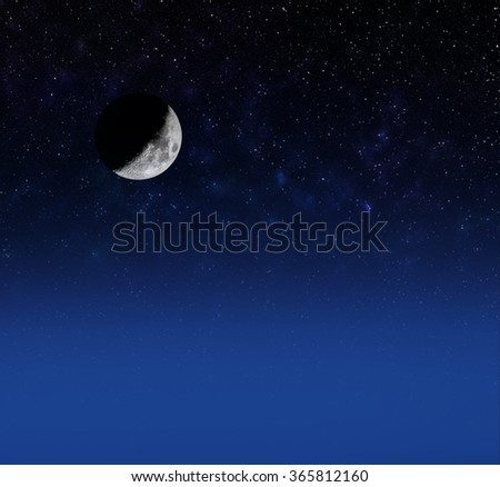 crescent moon  on starry sky  - stock photo