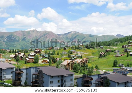 Crested Butte - Mountain Resort - Overview of part of Crested Butte resort section, Colorado, USA.