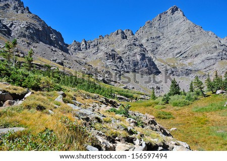 Crestone Needle, Sangre de Cristo Range, Rocky Mountains, Colorado - stock photo