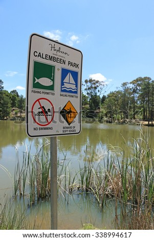 CRESWICK, VICTORIA, AUSTRALIA - October 23, 2015: Calembeen Park is a heritage-listed recreational reserve in Creswick, popular for angling, sailing and general recreation