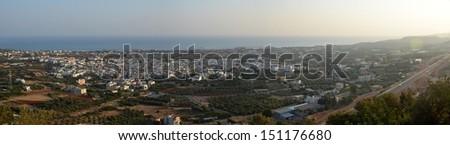 Cretan Mediterranean Panorama - Panorama of Malia, Crete and the Mediterranean - stock photo