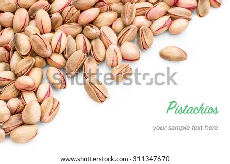 Cretan pink pistachios as background, top view - stock photo