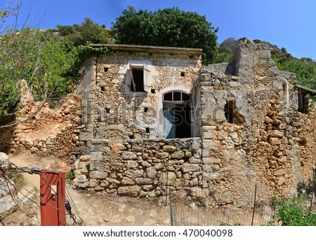 crete ancient greek house ruin in the valley of the forgotten mills