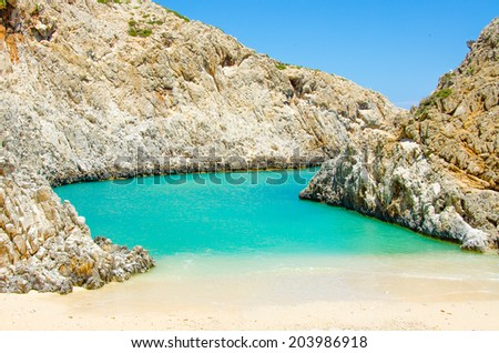Crete Bay  - Beautiful isolated Bay in the southern of crete, close to chania  - stock photo