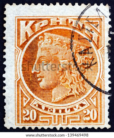 CRETE - CIRCA 1900: a stamp printed in the Greece shows Hera, Goddess of Women and Marriage, Greek Mythology, circa 1900 - stock photo