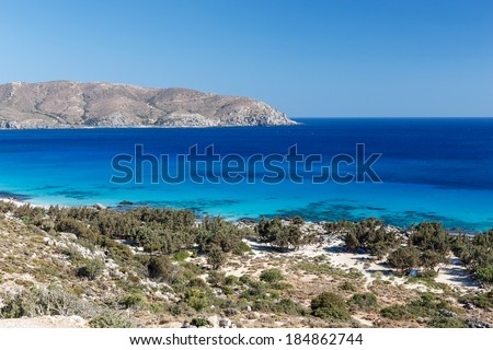 Crete coastline in Kedrodasos beach, in the Hania prefecture close to Elafonissi lagoon is a popular tourist destination and attracts many naturists - stock photo