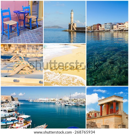 Crete collage with Chania, Heraklion and Knossos palace, Greece - stock photo