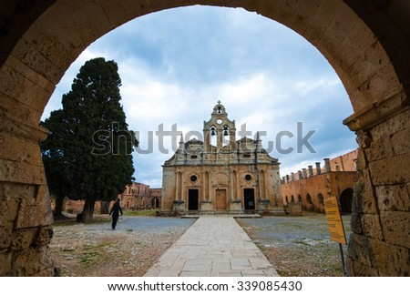 CRETE, GREECE - APRIL 4: Exterior view of the famous Arkadi  Christian orthodox monastery near the city of Rethymnon in the island of Crete in Greece on April 4 2015. - stock photo