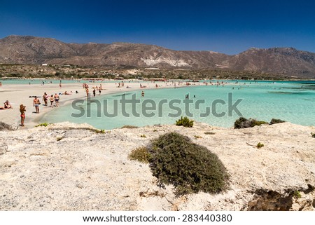 Crete, Greece: 26 August 2014. Coast of Crete island in Greece. Sandy beach in famous Elafonisi (or Elafonissi).Crete, Greece - stock photo