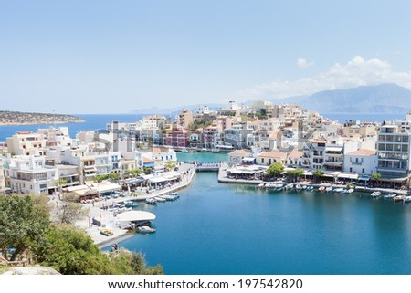 Crete - Greece - Harbor of Agios Nikolaos - stock photo