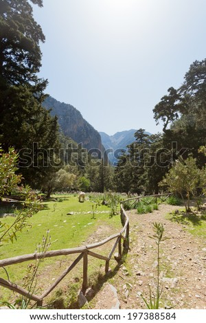 Crete - Greece - Hiking trail through the Samaria Gorge - stock photo