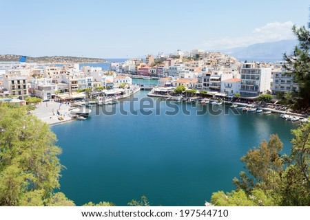 Crete - Greece - Inland port Voulismeni of Agios Nikolaos - stock photo