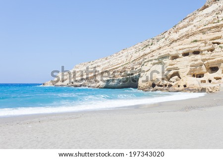 Crete - Greece - Matala Beach - stock photo