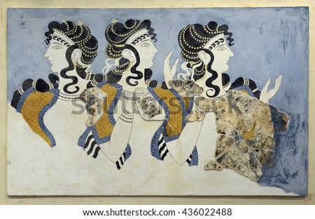 "CRETE, GREECE - MAY 29, 2016: ""Ladies in Blue"" from the minoan Knossos Palace, 1600-1450 BC. It is the largest archaeological site of all the places in Mediterranean island of Crete."