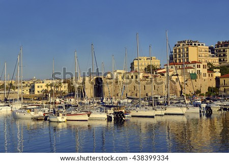 CRETE, GREECE - MAY 28, 2016: Old venetian harbor in Heraklion. It is the largest city of island.
