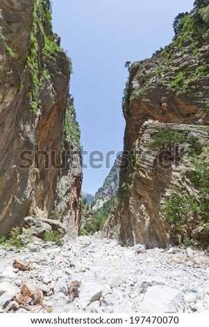 Crete - Greece - Narrowest part of the Samaria Gorge - stock photo
